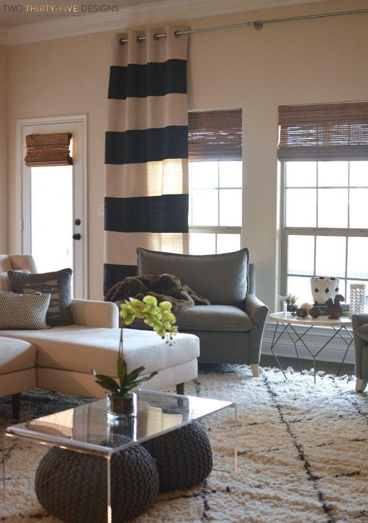 Diy No Sew Painted Drop Cloth Curtain Panels Decor