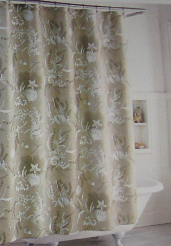 Amazon Com Taupe And White Shells And Flowers Shower Curtain