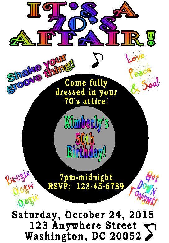 70 s party invitation 80 s party invitation i love the 70 s i
