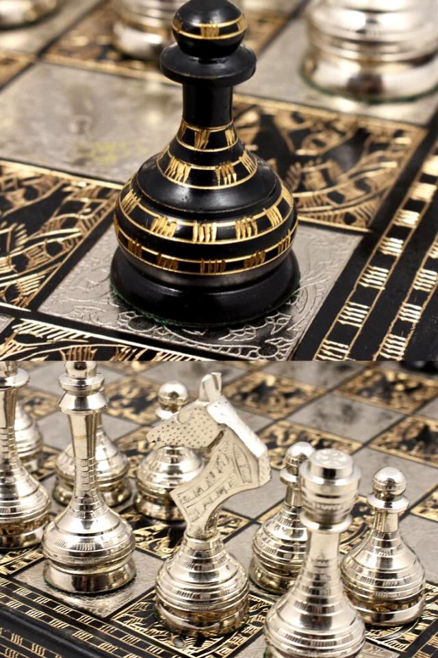 "14/"" Soviet Inspired Brass Metal Luxury Chess Pieces /& Board Set Unique Art"
