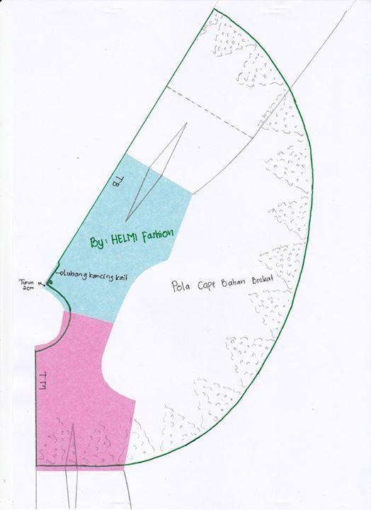 Cape Top Pattern Pola Jahitan Menjahit Proyek Menjahit