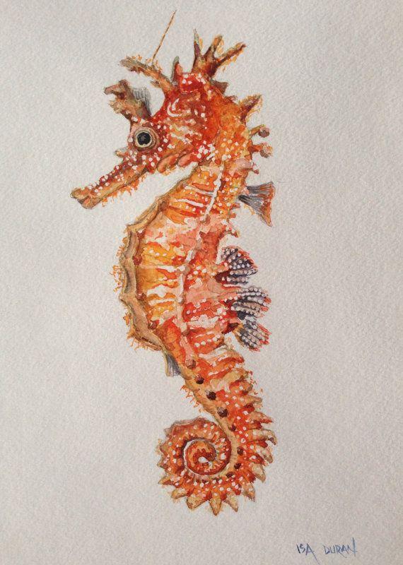 Seahorse Original Seahorse Watercolor Painting Seahorse Painting