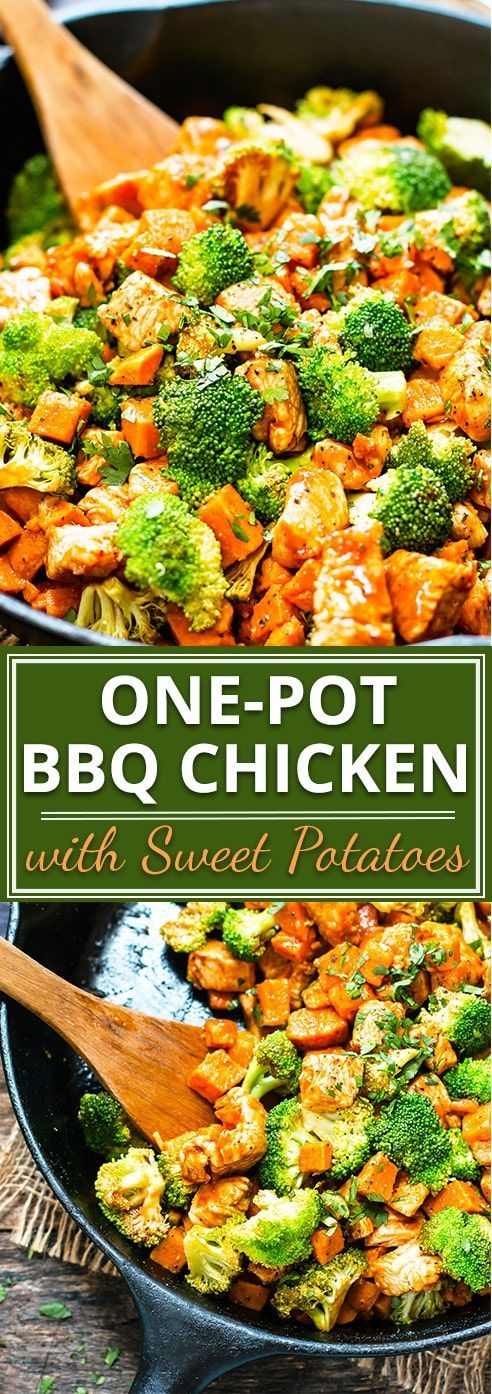 OnePot Honey BBQ Chicken  A healthy onepot 30minute meal that makes a great chicken dinner recipe the kids will love Cubed chicken diced sweet potatoes and broccoli get t...