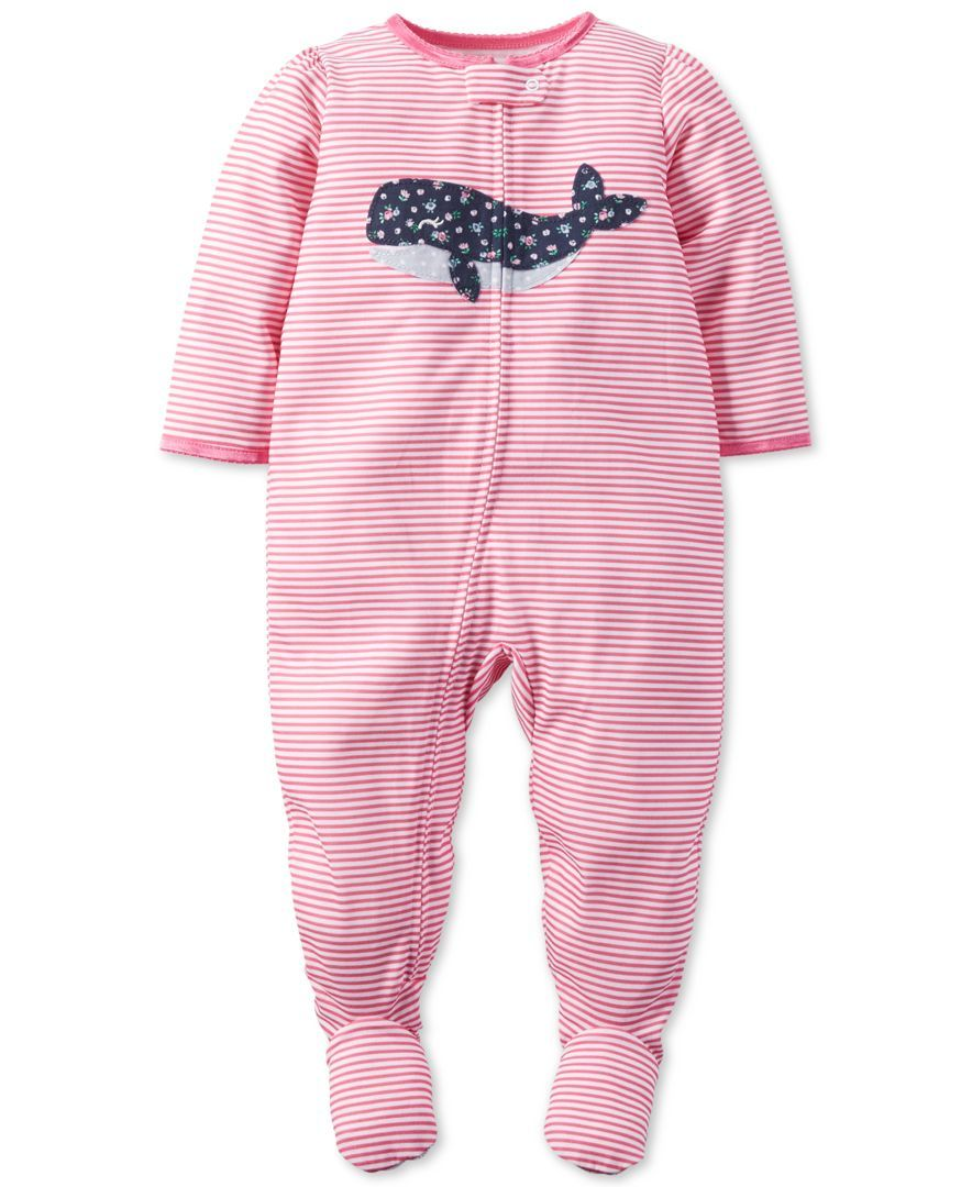 f19dee677749 Carter s Baby Girls  One-Piece Footed Stripe Whale Pajamas