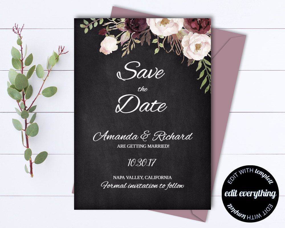 Floral Save The Date Wedding Template Chalkboard Save The Etsy Instant Download Wedding Invitations Printable Wedding Invitations Bridal Shower Invitations Templates
