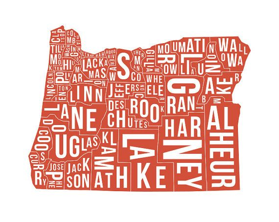 Oregon State Map With Counties.Map Oregon State County Map Poster Art United By Madecommodities