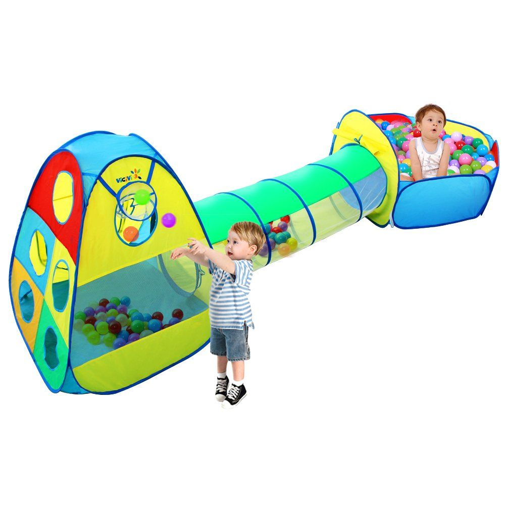 sale retailer c43c3 a86a5 Viciviya Kids Play Tent with Tunnel and Ball Pit 3 in 1 Pop ...