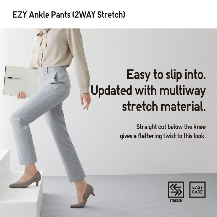 UNIQLO Women's Ezy 2-way Stretch Ankle-length Pants (Tall 29