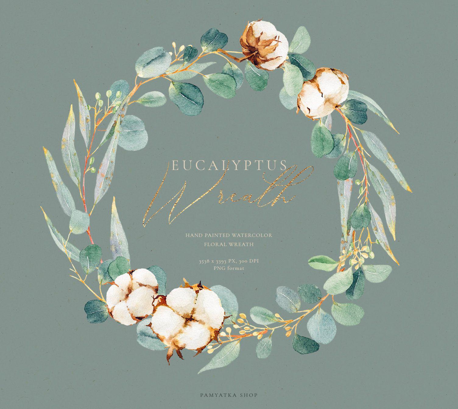 Photo of Eucalyptus wreath clipart, watercolor wreath, eucalyptus & watercolor cotton, wedding clipart, cotton wreath, greenery frame foliage clipart