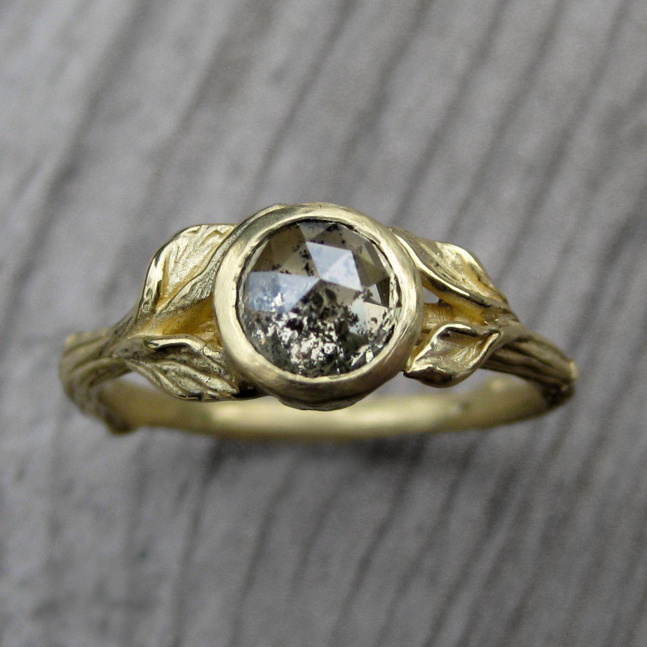 Saltandpepper Grey Diamond Twig & Leaf Engagement Ring By Kristin Coffin