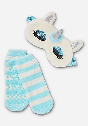 4d8b2e5107b Unicorn Eye Mask   Slipper Socks Set