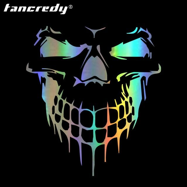 Tancredy 3D Skull Stickers 15.9*17.7cm Car Stickers & Decals Car Styling Head Rear Windshield Stickers Car Door Window Stickers Review