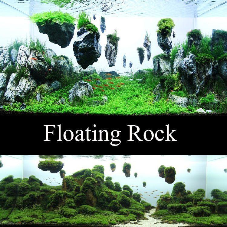 Aquarium fish tank floating rock island basking platform for Fish tank rock cleaner