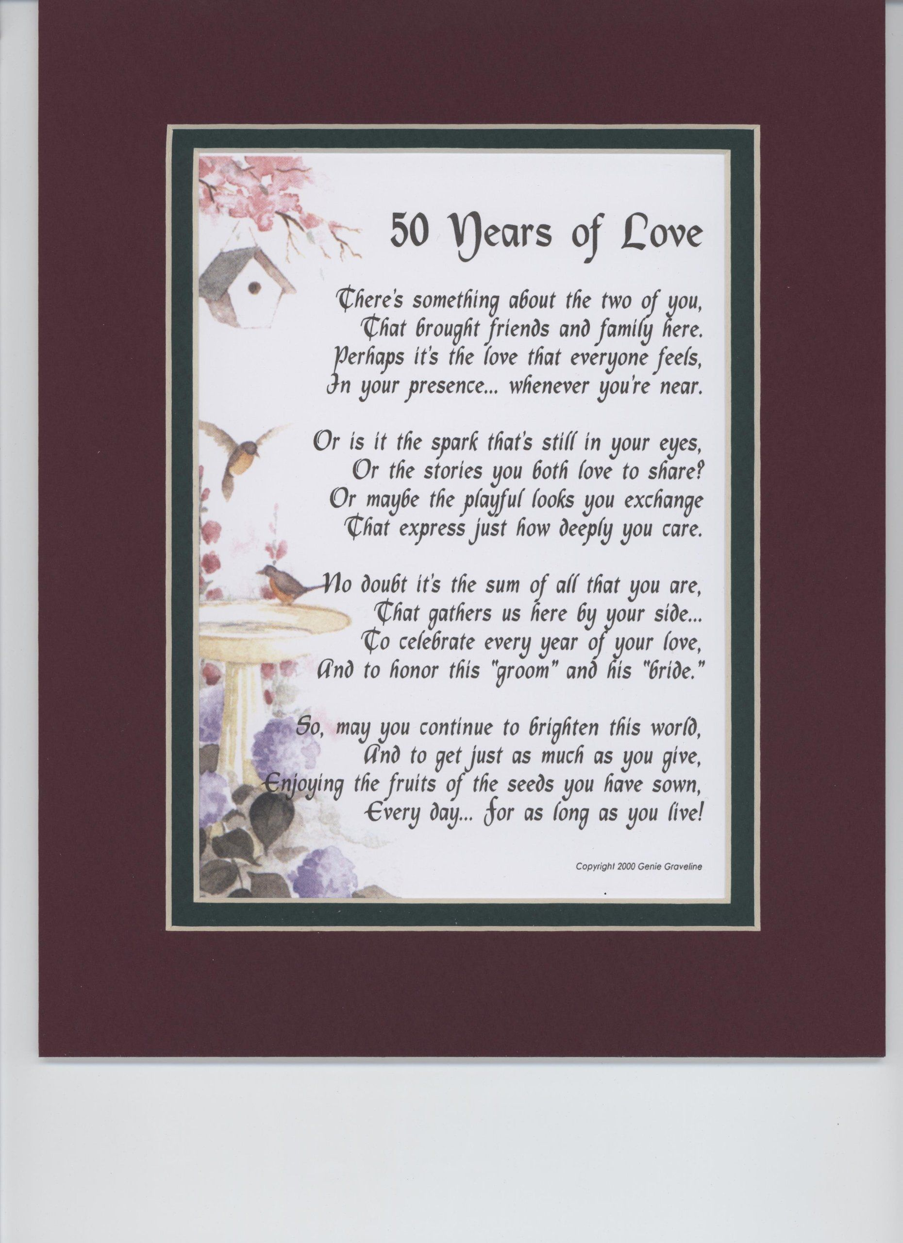 50 years of love touching 8x10 poem a gift for a 50th for 50 th wedding anniversary gifts