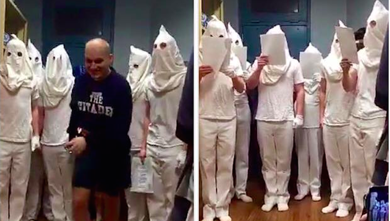 """At least eight students at The Citadel military college in Charleston, SC were suspended after photos of them dressed in white hoods surfaced on Facebook Wednesday night -- but Citadel president Lt. Gen. John W. Rosa was quick to explain the incident as a group of students """"singing Christmas carols as part of a 'Ghosts of Christmas Past' skit."""""""