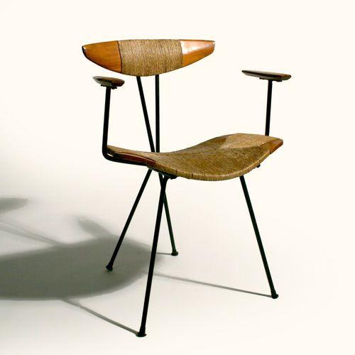 Mid Century Modern Umanoff Style Iron Wood Chair Furniture