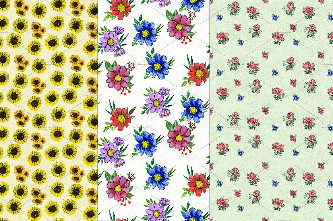 12 Flowers and leaves patterns by Alena Stoyko design on @creativemarket