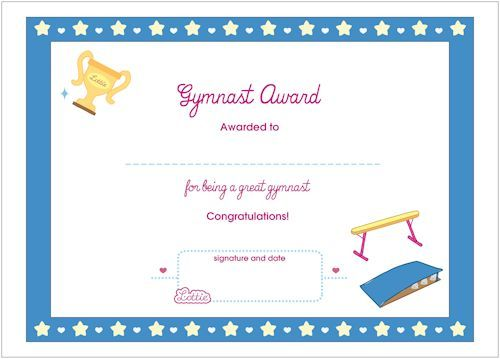 gymnast printable award certificate
