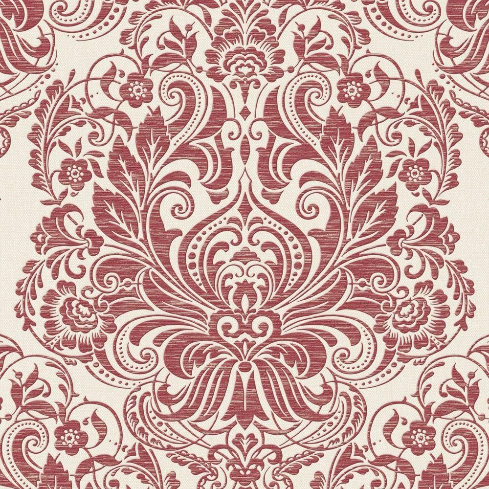 Graham & Brown Red Melody Wallpaper 20924 Damask