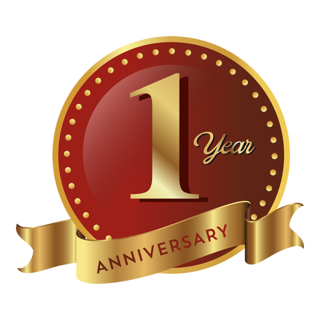 1st anniversary badge icon vector and png badge icon anniversary anniversary logo 1st anniversary badge icon vector and