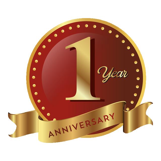 1st Anniversary Badge Icon, Anniversary, 1 Anniversary