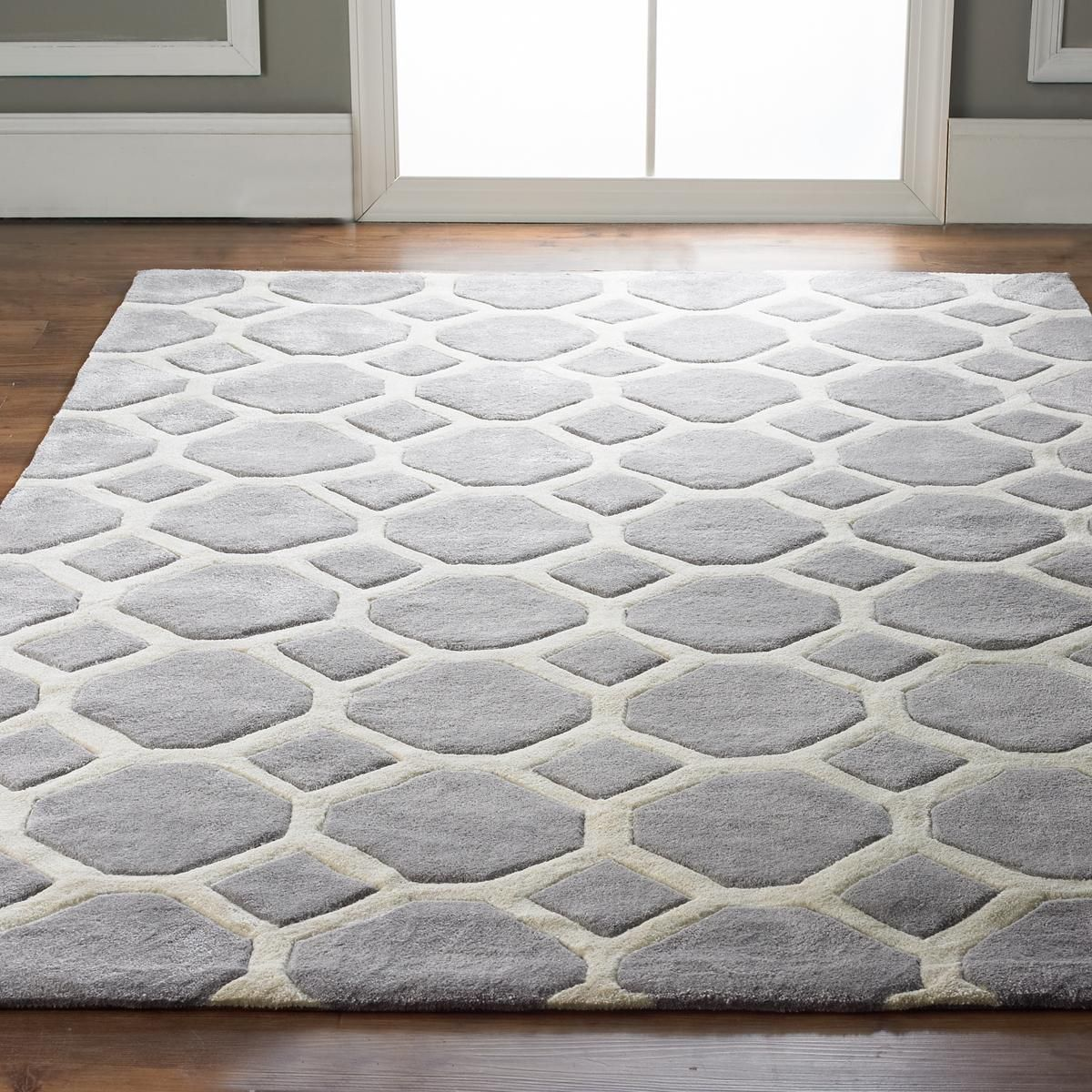 Honeycomb Carved Soft Rug Soft Rug Grey And White Rug Rugs