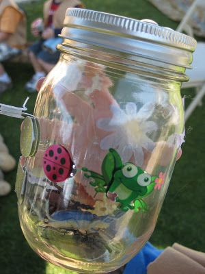 """""""We're going on a bug hunt"""" activity.  Decorate jar, box, cup with lid… Hid plastic bugs around yard or house & see how many  you can find!"""
