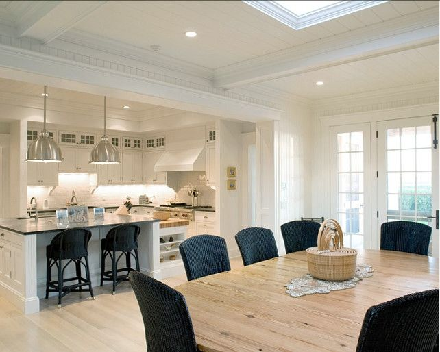 large square skylight in living room area off kitchen - Coastal Kitchen Ideas