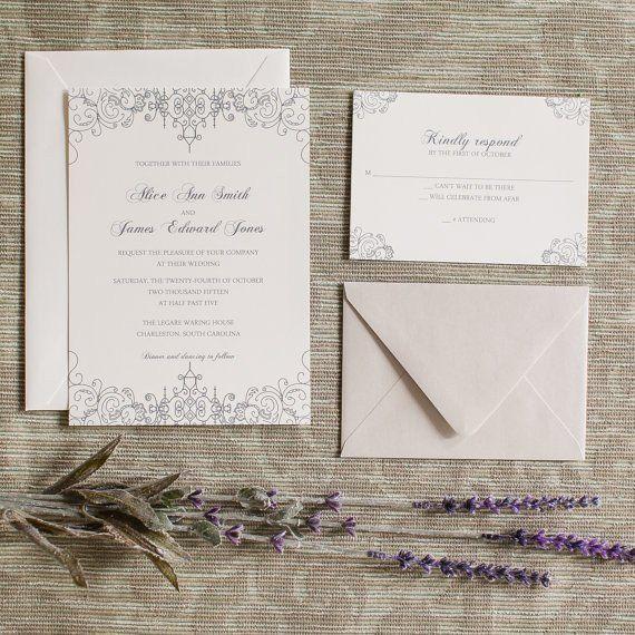 Wrought Iron Gate Invitation Charleston Gates Wedding Invite - formal handmade invitation cards