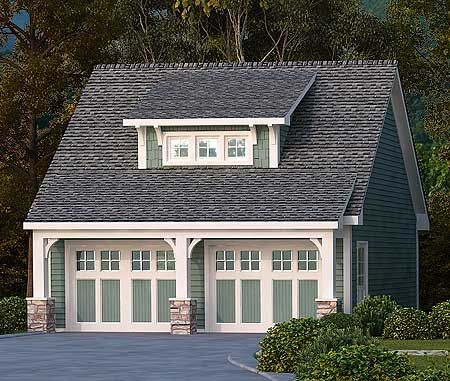 Plan 29869rl 2 car garage with shed dormer garage house for Small house over garage plans