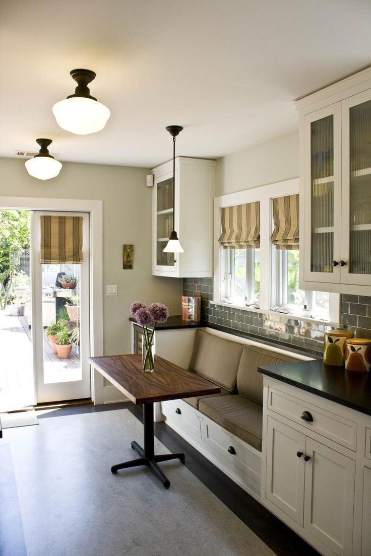 Perfect height table for a breakfast nook in a kitchen. Low enough to sit at
