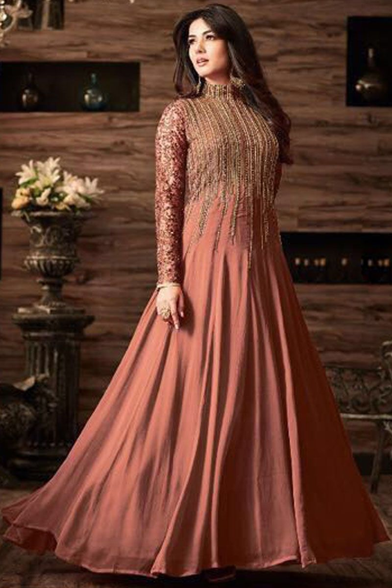 8aab1e7e71 Peach Color Net Embroidered traditional Party Wear Floor Length Anarkali  Suit  maisha  maskeen  sonalchauhan  pinkdress  floorlength  embroidered   anarkalis ...