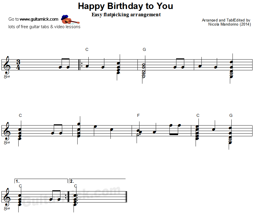 Happy Birthday To You - flatpicking guitar sheet music | гитара ...
