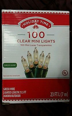 Clear 100 Count Miniature Mini Lights Christmas Weddings New Green Wire Indoor String Lights Holiday Time