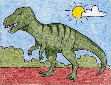 تعلم رسم ديناصور بالصور تعليم الرسم تعلم الرسم ببساطة Dinosaur Art Projects Kids Art Projects Art Drawings For Kids