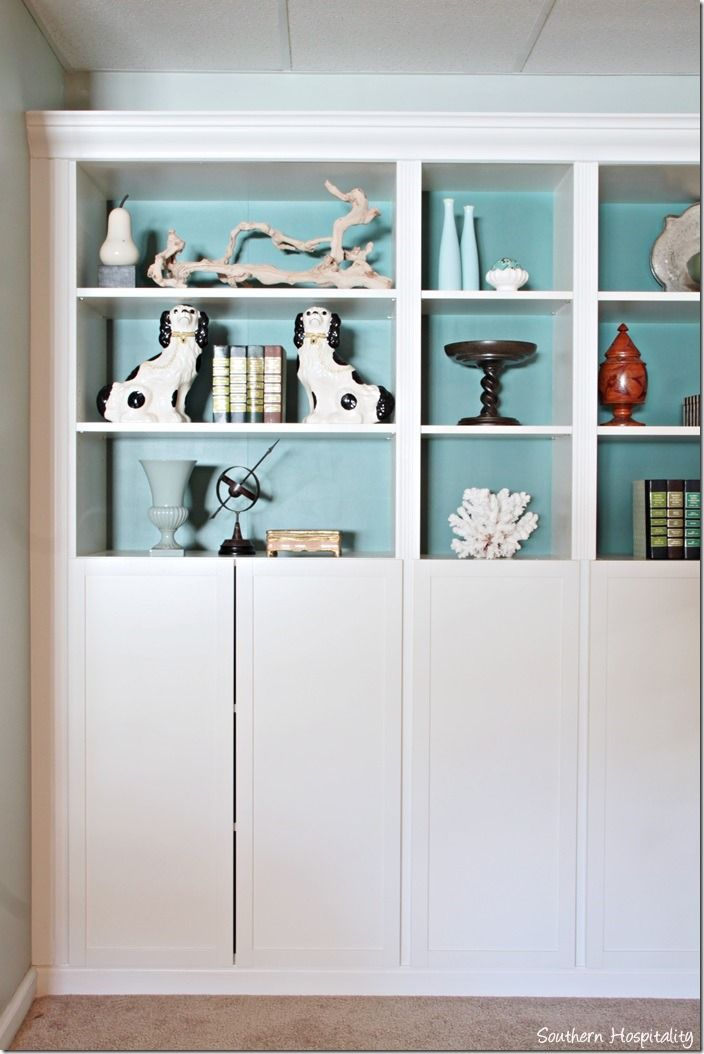 part 2: building in ikea billy bookcases with molding,