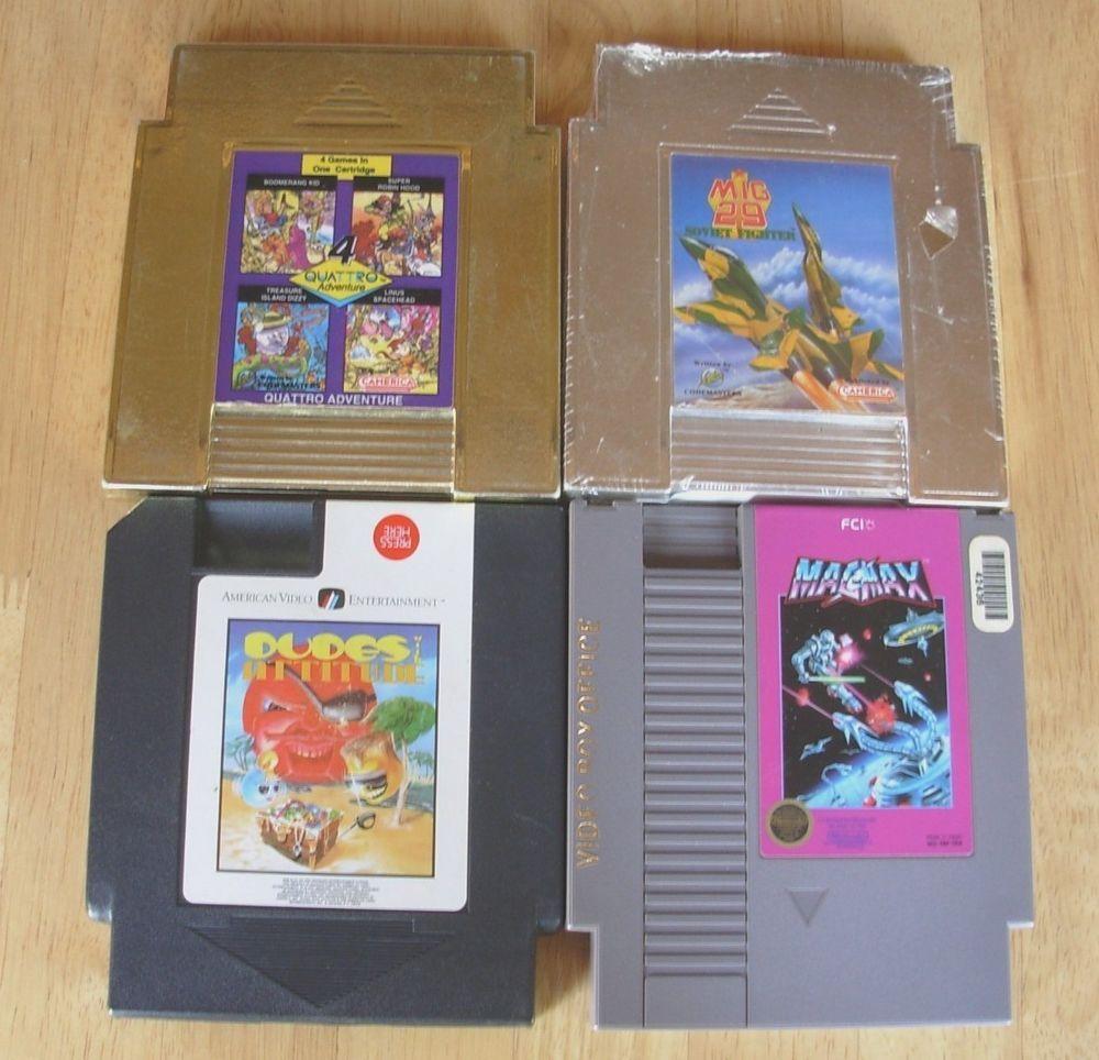 Nintendo NES 4 Game Lot MAGMAX DUDE w/ATTITUDE QUATTRO