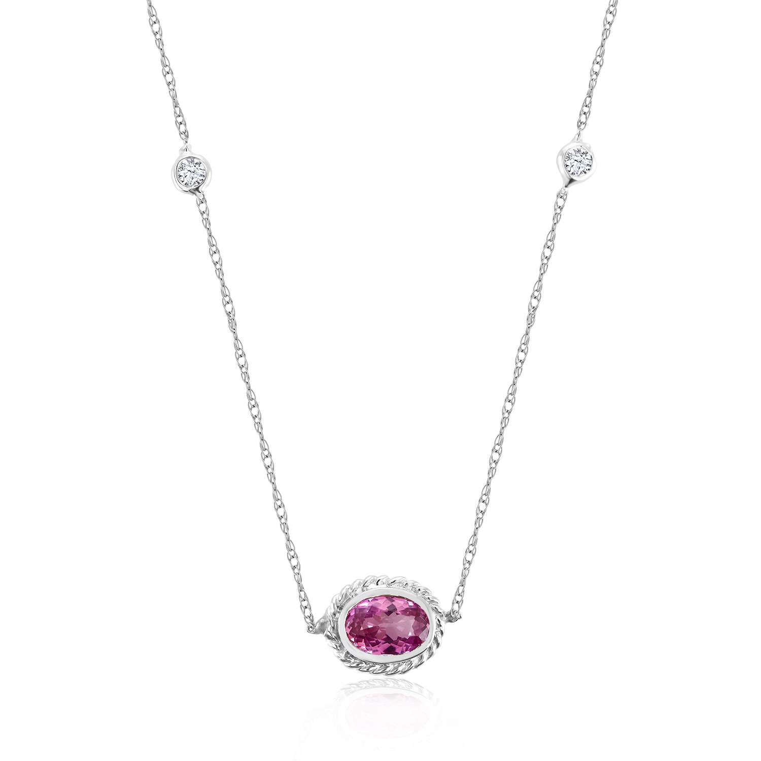 K white gold pendant necklace with bezelset pink sapphire and
