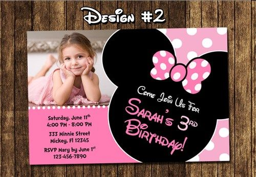 MINNIE Mouse Photo Birthday Party Invitations Mickey DIY Mouse