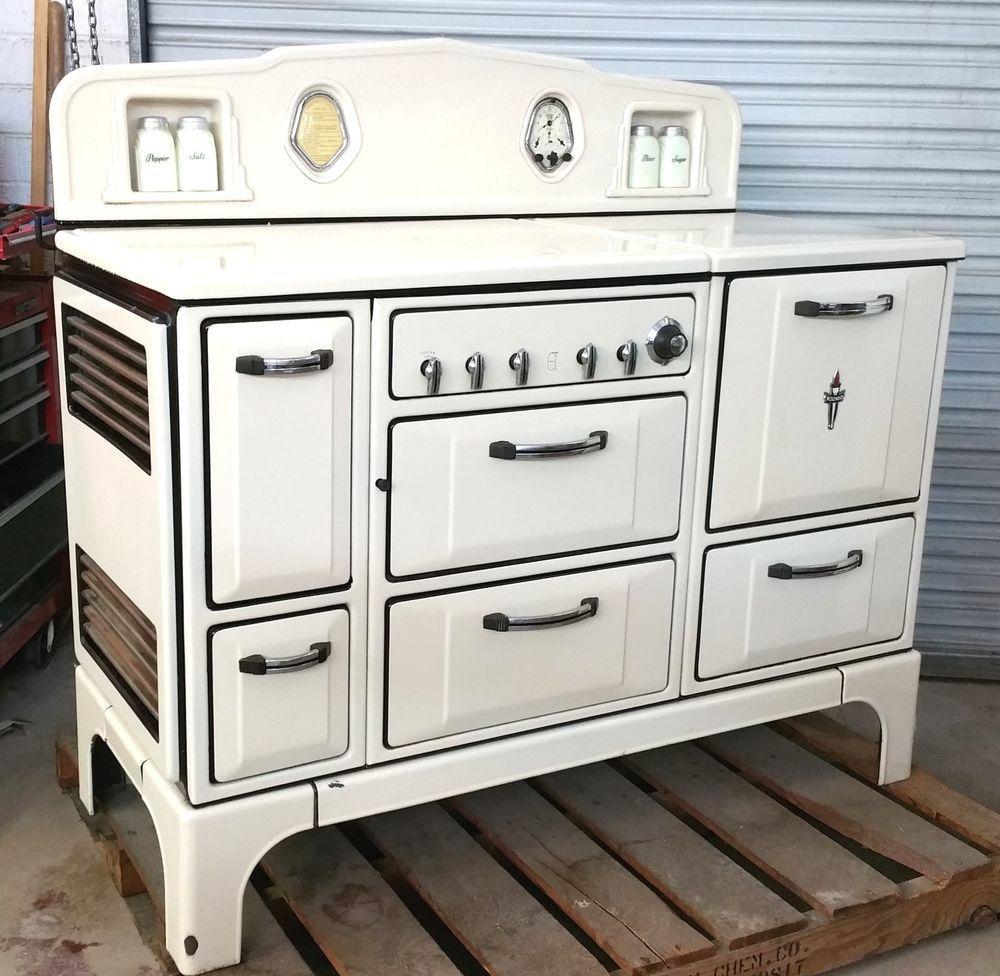 Vintage Wedgewood White Porcelain Enamel Gas Wood Stove