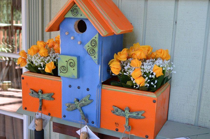 Birdhouse Planter Garden Herb Box Gardening Yard Art Colorful Patio Home Decorative Bird House Designe Decorative Bird Houses Garden Planter Boxes Garden Boxes