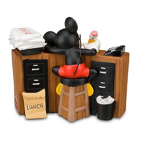 Sleeping Mickey Mouse Desk Clock Back