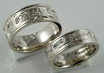 Wolf Wedding Rings Wolf Wolf Wedding Bands with Diamond Eyes