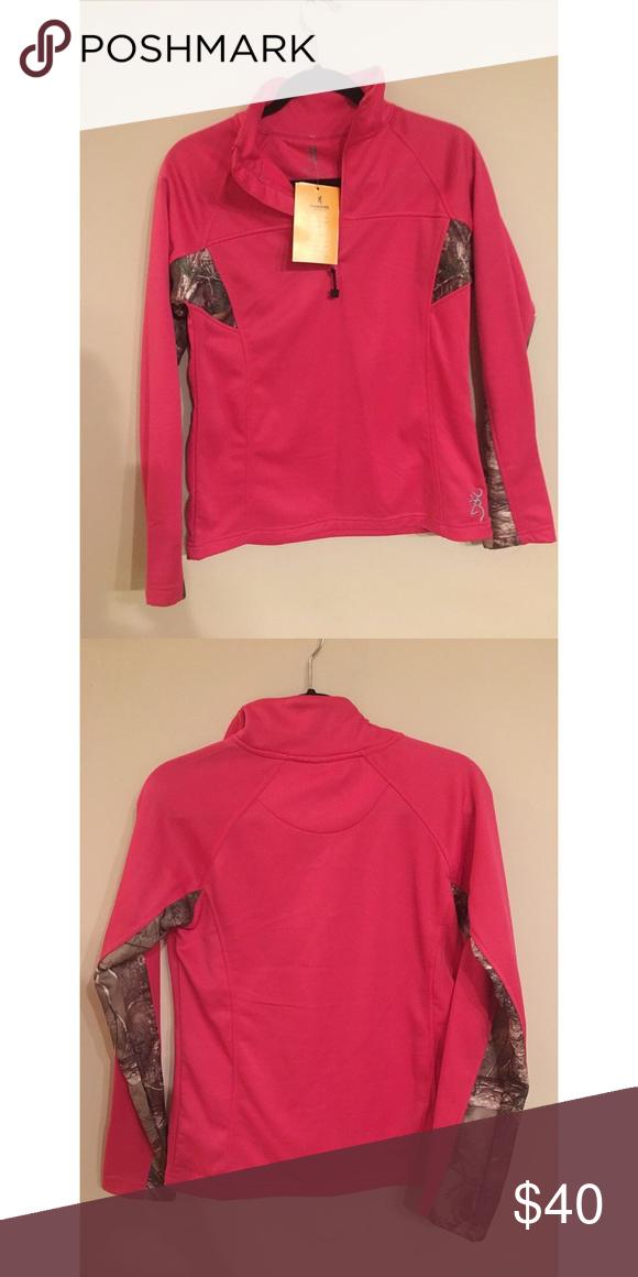 NWT Browning NWT fuchsia/camo Browning 1/4 zip jacket Browning Jackets & Coats
