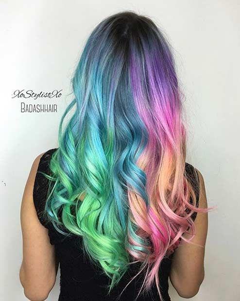 Colorful Split Hair Color Idea Hair Looks Hair Dye Colors Hair