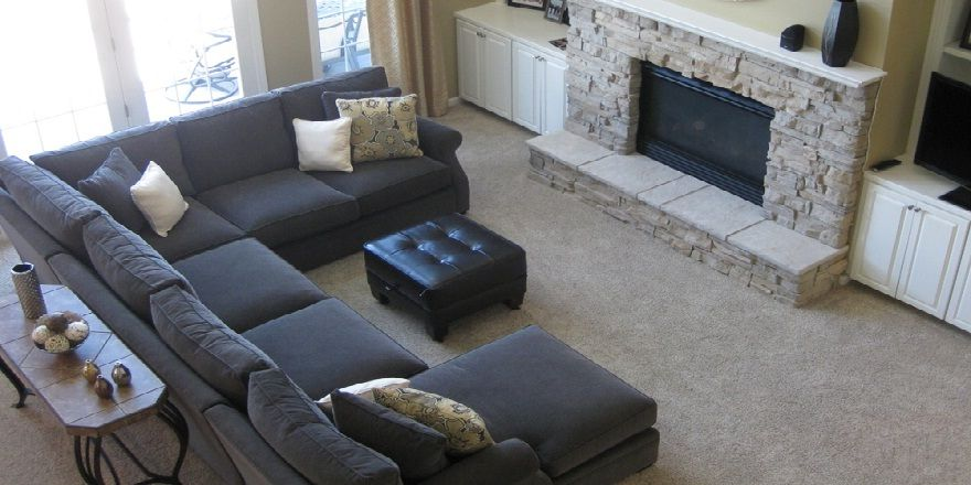 Corner Fireplace Sectional Sofa | Couches and Furniture | Sectional ...