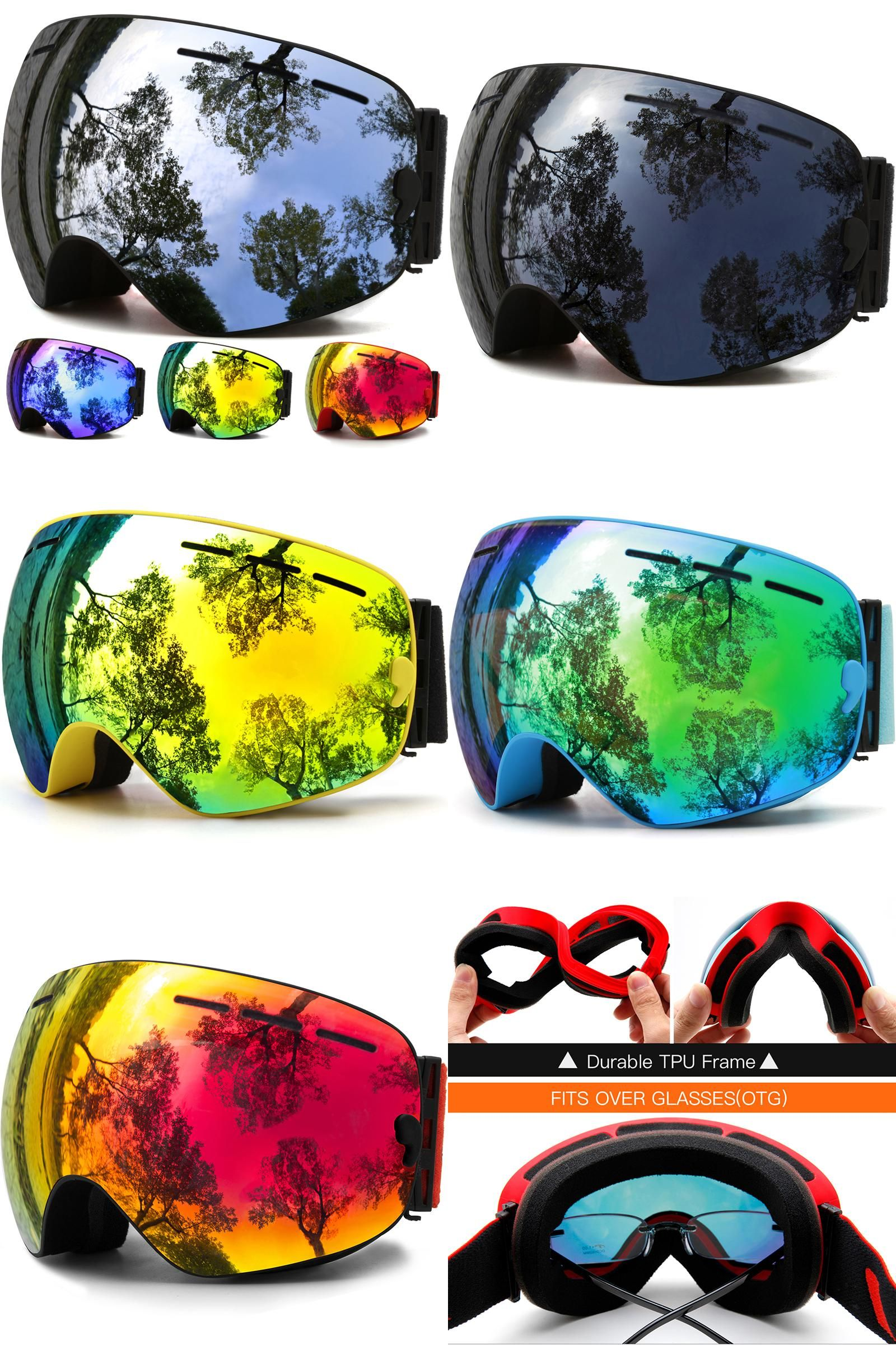 79c8b7de8393e6 [Visit to Buy] Ski Goggles,Winter Snow Sports Snowboard Goggles with Anti-fog  UV Protection for Men Women Youth Snowmobile Skiing Skating mask # ...
