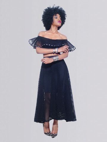 Paris Midnight Black Pleated Mesh Midi Skirt