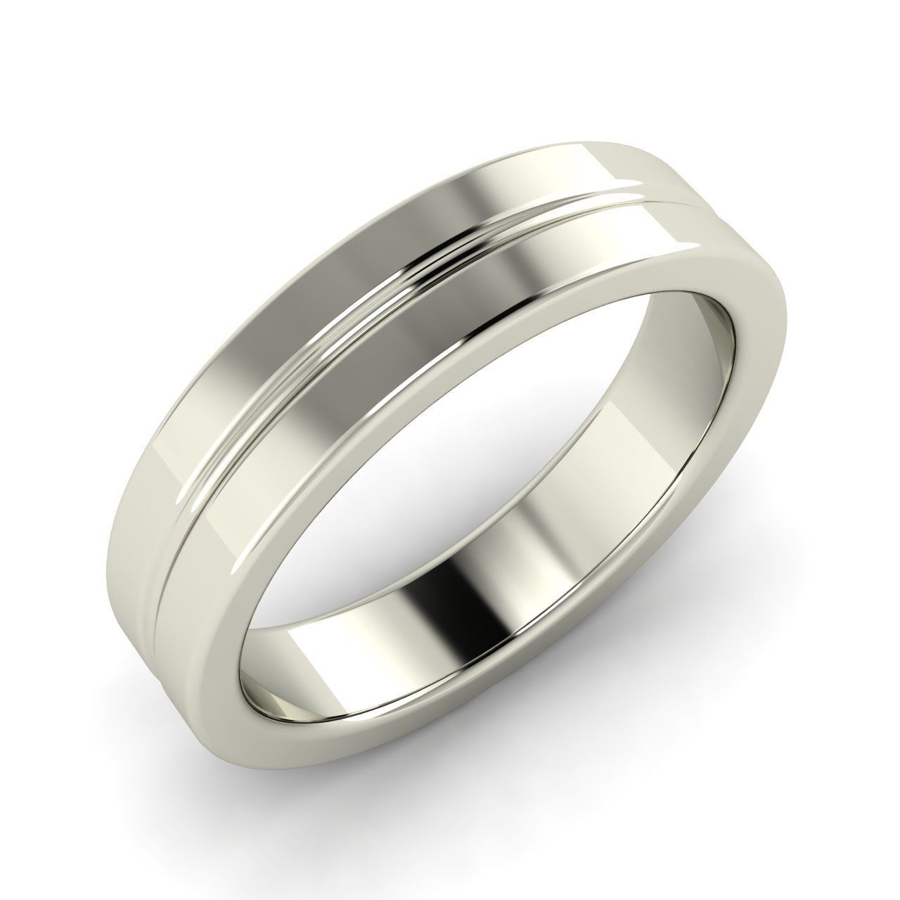 Mens ring wedding band in 14k solid white gold by