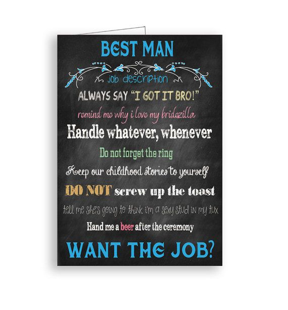 Best Man Card Will You Be My Best Man Chalkboard Job
